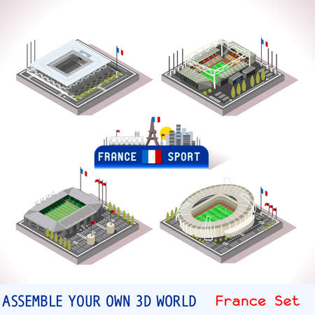 bordeaux: EURO 2016 France Stadium Football Icons. Bordeaux Atlantique Tienne Geoffroy Lens Bollaert Tolosa Municipal. Flat 3D City Map Isometric Infographic Elements Game Tiles