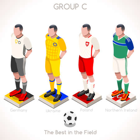 internships: France EURO 2016 Championship Infographic Qualified Soccer Players GROUP C. Football Game Jersey flags of final participating countries. 3D Flat Isometric People Vector Icons
