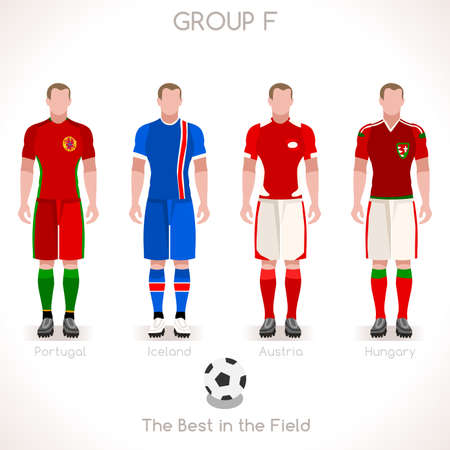 internships: France EURO 2016 Championship Infographic Qualified Soccer Players GROUP F. Football Game Jersey flags of final participating countries. Flat People Vector Icons