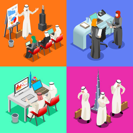 woman laptop: Middle East Arab Businessmen working on Laptop. Arabian hijab desk woman working at a laptop. Flat 3D Isometric People Collection. Infographic Elements Isolated Vector Image