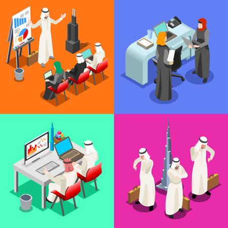 mujer: Oriente Medio árabe hombres de negocios que trabaja en la computadora portátil. Mujer escritorio hijab árabe que trabaja en un ordenador portátil. Colección La gente plana isométrica 3D. Elementos de Infografía imagen aislado del vector