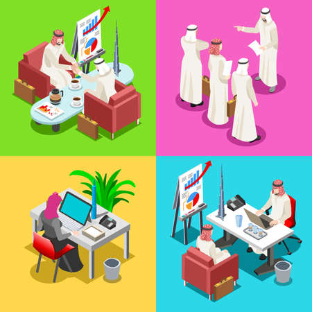 sheik: Middle Eastern Arab Sheik Businessman 3D Flat Isometric People Collection. Arab Business Man Drawing. Finance Character Picture. Infographic Elements Isolated Vector Image.