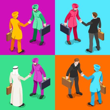 negocios internacionales: Mano de Negocios Internacionales Sacudir Infografía. El hombre de negocios reunión de negociación y acuerdo de la India del Sur de Asia Ethnicity.Flat 3D isométrico Conjunto de personas. Imagen aislado vector de los elementos.