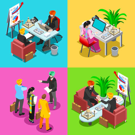negotiate: Indian Business Infographic. Businessman Web Conference Hand Shaking Negotiate Agreement and Woman Employee.Flat 3D Isometric People Set. Isolated Elements Vector Image. Illustration