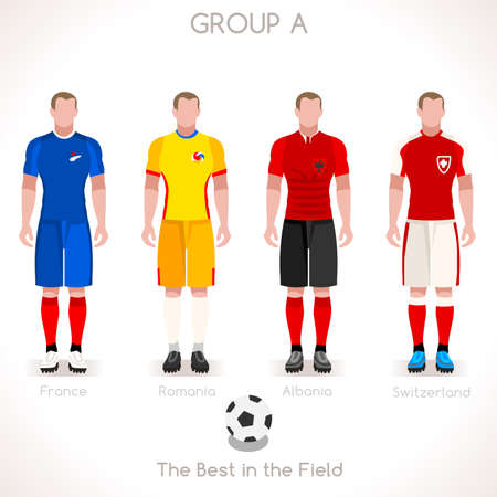 internships: France EURO 2016 Championship Infographic Qualified Soccer Players GROUP A. Football Game jersey flags of final participating countries. Flat People Vector Icons