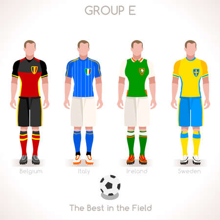 internships: France EURO 2016 Championship Infographic Qualified Soccer Players GROUP E. Football Game Jersey flags of final participating countries. Flat People Vector Icons