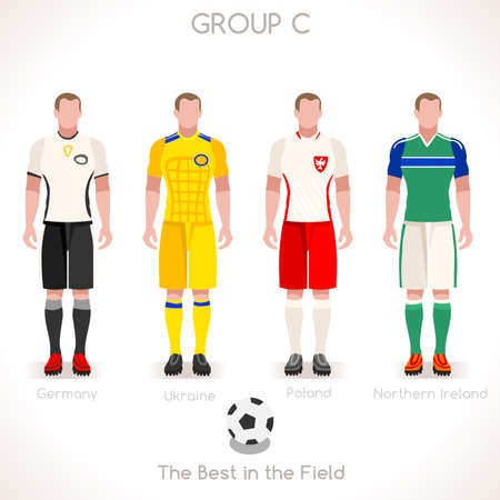 France EURO 2016 Championship Infographic Qualified Soccer Players GROUP C. Football Game Jersey flags of final participating countries. Flat People Vector Icons