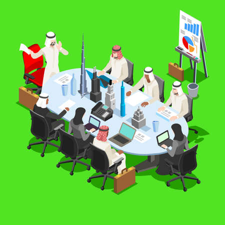 dishdasha: Middle Eastern Arab Sheik Businessman 3D Flat Isometric People Collection. Arab Business Man Drawing. Finance Character Picture. Infographic Elements Isolated Vector Image.