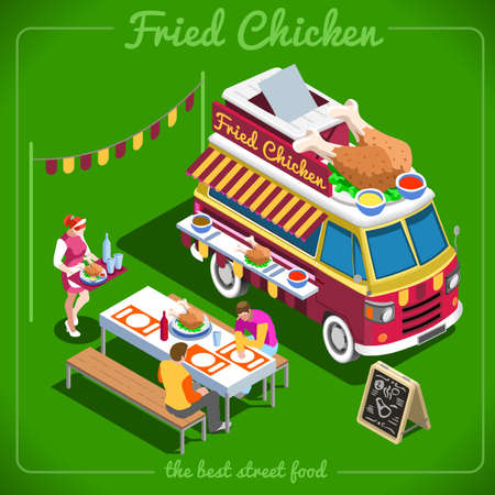 fried chicken wings: Fried Chicken Wings Food Truck Delivery Master. Street Food Chef Web Template. 3D Flat Isometric Vehicles Food Truck Infographic Elements Isolated Vector Image.