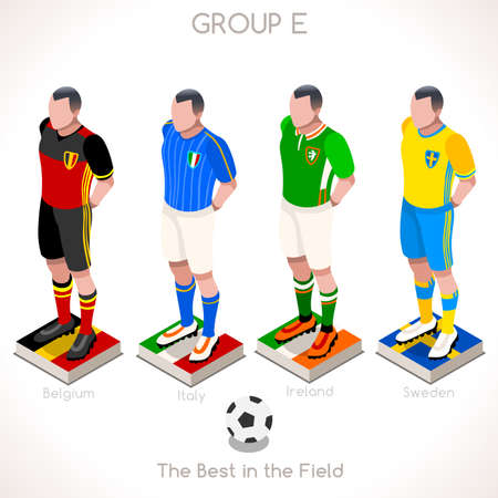 internships: France EURO 2016 Championship Infographic Qualified Soccer Players GROUP E. Football Game Jersey flags of final participating countries. 3D Flat Isometric People Vector Icons