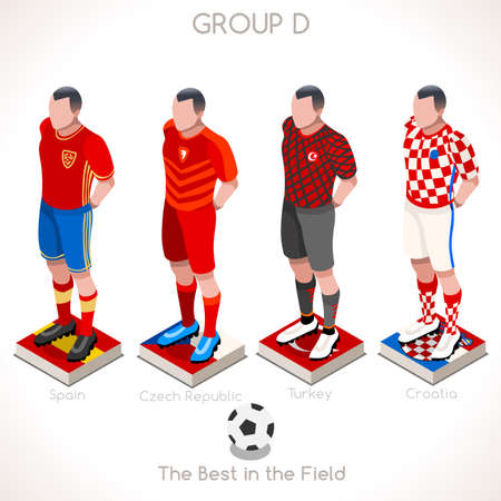 Championship Infographic Qualified Soccer Players. Football Game Jersey flags of final Participating countries.