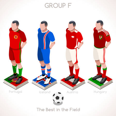 France EURO 2016 Championship Infographic Qualified Soccer Players GROUP F. Football Game Jersey flags of final participating countries. 3D Flat Isometric People Vector Icons