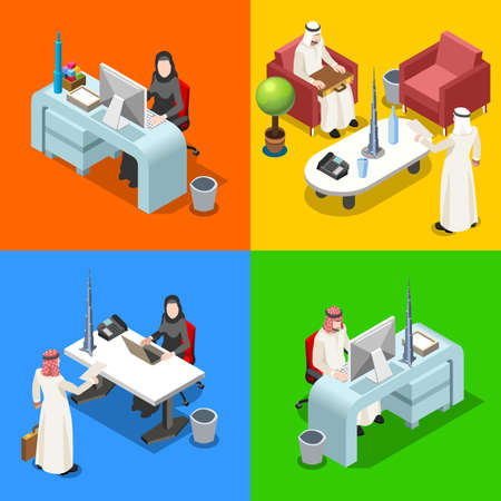 man with laptop: Middle Eastern Arab Caliph Businessman 3D Flat Isometric People Collection. Arab Business Man Drawing. Finance Character Picture. Infographic Elements Isolated Vector Image.