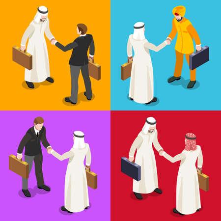 negocios internacionales: Mano de Negocios Internacionales Sacudir Infografía. El hombre de negocios reunión de negociación y acuerdo de Oriente Medio árabe Ethnicity.Flat 3D isométrico Conjunto de personas. Imagen aislado vector de los elementos. Vectores