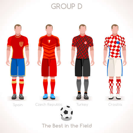 internships: France EURO 2016 Championship Infographic Qualified Soccer Players GROUP D. Football Game Jersey flags of final participating countries. Flat People Vector Icons