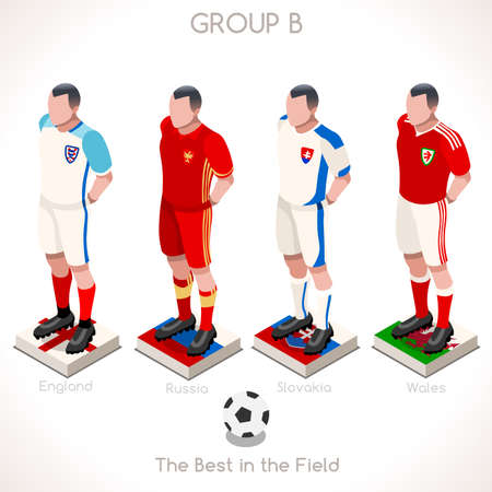 internships: France EURO 2016 Championship Infographic Qualified Soccer Players GROUP B. Football Game Jersey flags of final participating countries. 3D Flat Isometric People Vector Icons