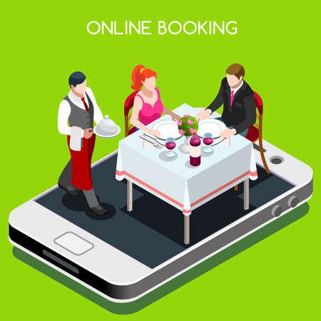 온라인 예약 예약 개념입니다. 3D 평면 아이소 메트릭 사람들 요소는 온라인 레스토랑에서 테이블을 예약.
