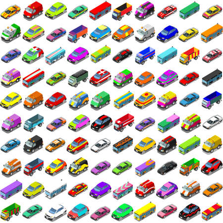 cars on road: Car game icons. Flat 3d isometric city transport isolated car. Car van cargo truck off road bus. Transport set. Urban public and freight transport infographic Illustration