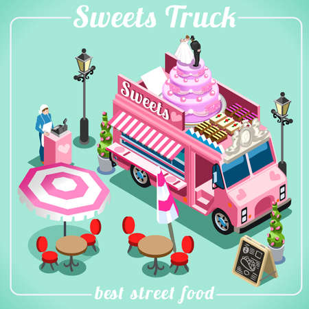 tastes: Sweet Breakfast Food Truck Delivery Master. Street Food Chef Web Template. 3D Flat Isometric Vehicles Food Truck Infographic Isolated Vector Image Illustration
