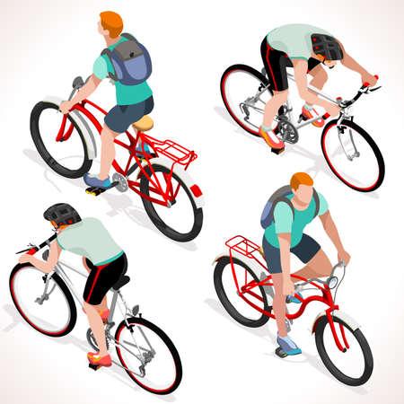 틴 자전거를 타고 자전거. 아이소 메트릭 사이클. 사이클링 스포츠입니다. 플랫 3D 아이소 메트릭 사람들의 컬렉션입니다. 격리 된 사이클과 자전거 개