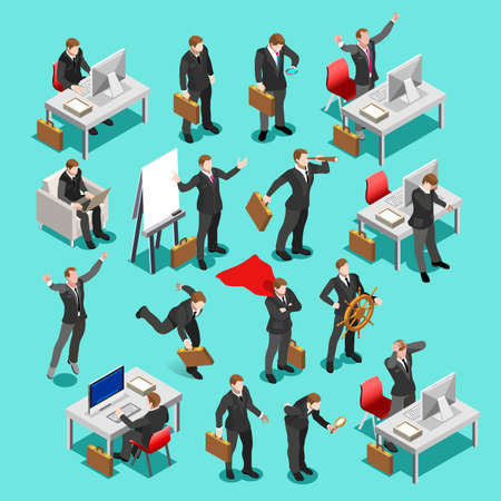 web conference: Businessman isometric people collection. Business meeting characters infographic icons. Flat 3D vector isolated business man