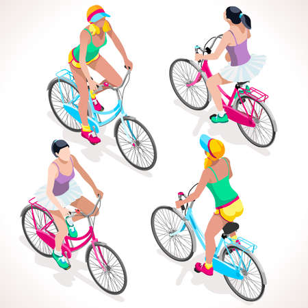 sport girl: Teen Cyclist Riding Bicycle. Isometric Cyclists. Cycling sport. Flat 3D Isometric People Collection. Isolated Cyclists and Bicycle Object. Vector Cyclists. Cycling icon.