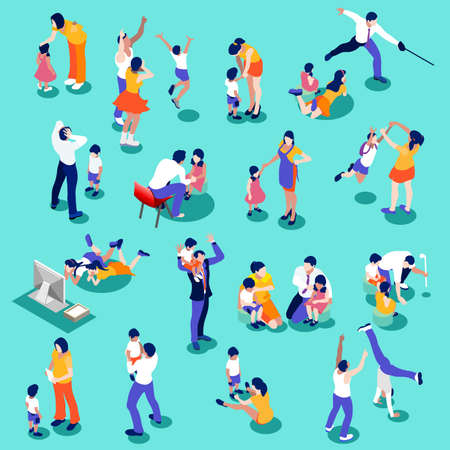 Family isometric people set. 3D flat realistic children and parents. Interacting people isolated vector illustration Illustration