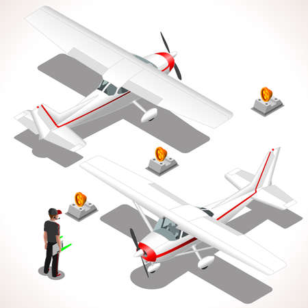 airport cartoon: Airplane. vector ultralight aircraft. Flat 3D Isometric planes. Aeroplane 172 Object. Isometric Vehicles. Infographic elements