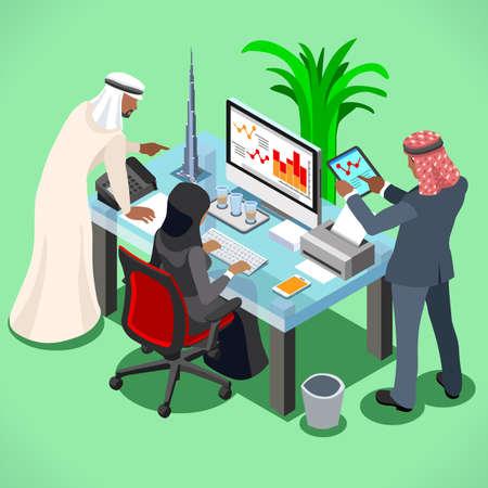 arab adult: Arabic businessman bright modern office room. Arabic business meeting concept. 3D flat isometric vector illustration Illustration