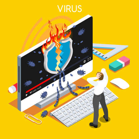 computer attack: Computer virus trojan malware attack warning infographic. 3D flat isometric people set. Virus concept vector illustration Illustration