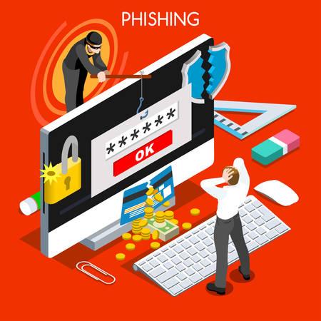 Hacker phishing gens isométriques concept design plat 3D infographique. Spam menaces de risque d'attaque phishing pour les systèmes informatiques illustration vectorielle