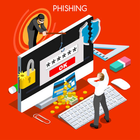 computer attack: Hacker phishing infographic 3D flat isometric people design concept. Spam phishing attack risk threats for computer systems vector illustration