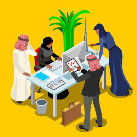 gulf: Arabic Business Meeting of Middle Eastern Arab Businessman 3D Flat Isometric People Set. Muslim people man character at modern office room infographic. Isolated Vector Image Illustration