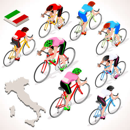 italia: Giro Italia 2016 racing cyclist group riding bicycle path. Vector cyclist icon. Cyclist icons. Flat 3D isometric people set of vector cyclist and bicycle icons. Isometric bicycle group JPG EPS 2016 Cycling race icons.