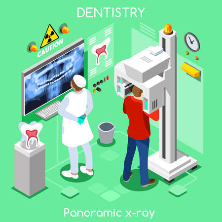 Dental panoramic teeth x ray radiography oral imaging dental centre dentist and patient. Flat 3D isometric people dentistry clinic room dental visit. Dentist JPG illustration EPS Vector Image.
