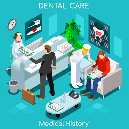 Dentist patient medical history waiting room before medical visit. Hospital clinic reception patients waiting medical consult. Healthcare 3D flat isometric people collection JPG JPEG EPS vector image