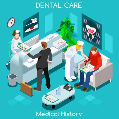 historia clinica: Dentista paciente historial médico sala de espera antes de la visita médica. los pacientes del hospital de recepción clínica de consulta médica en espera. Cuidado médico 3D plana personas colección isométrica JPG JPEG EPS vector de imagen