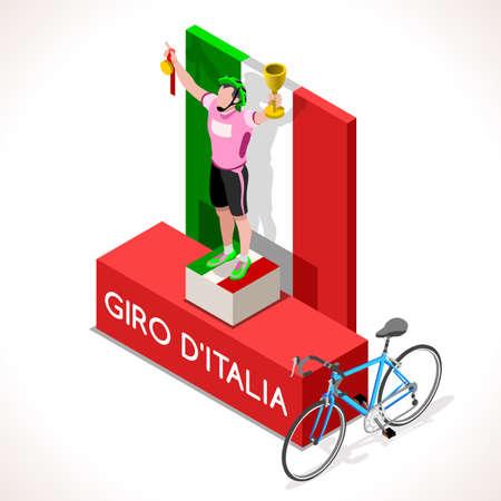 cycling race: Giro Italia 2016 racing winning cyclist. Vector cyclist icon. Cyclist icons. Flat 3D isometric people set of vector cyclist icons. Isometric bicycle group JPG EPS 2016 Cycling race icons.