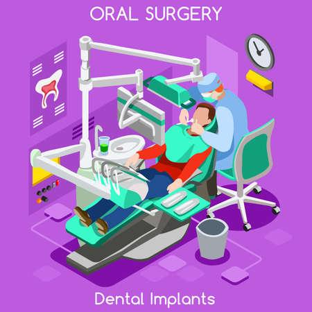 치과 이식 치아 위생 및 미백 구강 외과 센터 치과 의사와 환자. 평면 3D 아이소 메트릭 사람들 치과 진료소 치과 화장품 이식. 치과 의사 JPG 그림 EPS 벡