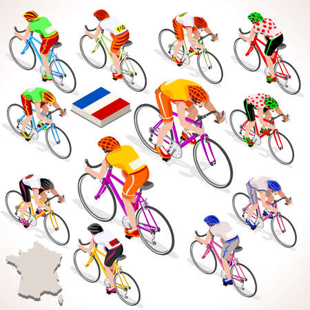 cycling race: Tour de France 2016 racing cyclist group riding bicycle path. Vector cyclist icon. Cyclist icons. Flat 3D isometric people set of vector cyclist and bicycle icons. Isometric bicycle group JPG EPS 2016 Cycling race icons.