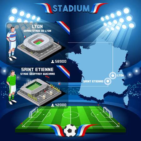 France stadium infographic Stade de Lyon and St Etienne Guichard. France stadium Icon. France stadium Jpg Jpeg. France stadium illustration. France stadium drawing. France stadium vector Eps object.