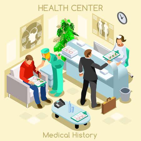 historia clinica: Clínica del paciente historial médico sala de espera antes de la visita médica. los pacientes del hospital de recepción clínica de consulta médica en espera. Cuidado médico 3D plana personas colección isométrica JPG JPEG EPS vector de imagen