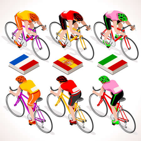 cycling race: Racing cyclist group riding bicycle path. Vector cyclist icon. Cyclist icons. Flat 3D isometric people set of vector cyclist and bicycle icons. Isometric bicycle group JPG EPS 2016 Cycling race icons. Illustration