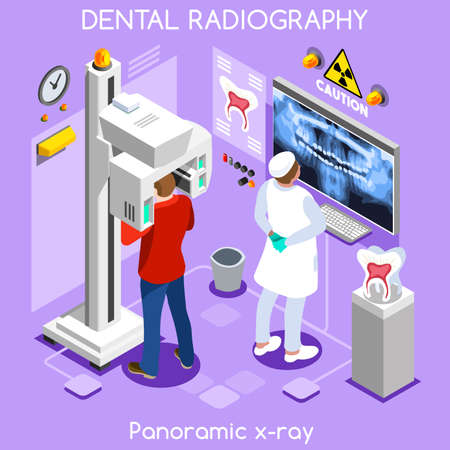 dental assistant: Clinic dental panoramic teeth x ray radiography oral imaging dental centre dentist and patient. Flat 3D isometric people dentistry clinic room dental visit. Dentist JPG illustration EPS Vector Image.
