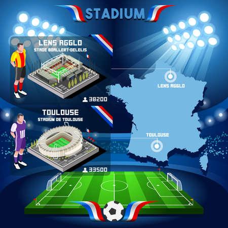 toulouse: France stadium infographic Stade de Lens Agglo and Toulouse. France stadium Icon. France stadium Jpg Jpeg. France stadium illustration. France stadium vector Eps object. Illustration