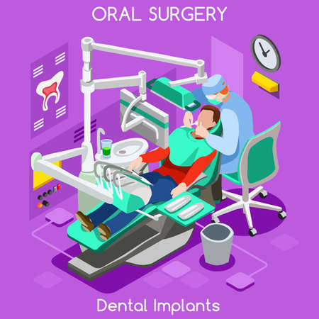 dental assistant: Dental implant teeth hygiene and whitening oral surgery centre dentist and patient. Flat 3D isometric people dentistry clinic room dental cosmetic implant. Dentist JPG illustration EPS Vector Image.