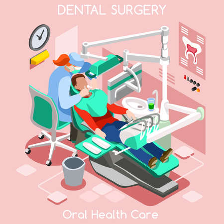 oral surgery: Dental implant teeth hygiene and whitening oral surgery centre dentist and patient. Flat 3D isometric people dentistry clinic room dental cosmetic implant. Dentist JPG illustration EPS Vector Image.