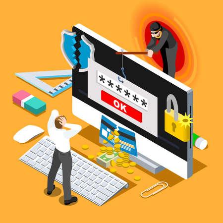 la infección por ordenador en 3D infografía plana personas isométricas concepto de diseño. amenazas de riesgo de ataque de suplantación de identidad del pirata informático de spam para la ilustración vectorial sistemas informáticos