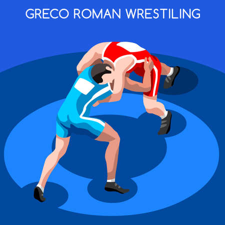 Greco Roman Wrestling 2016 Summer Games Icon Set.3D Isometric Fighting Athletes.Sporting Championship International Wrestling Competition.Sport Infographic Wrestling Vector Illustration