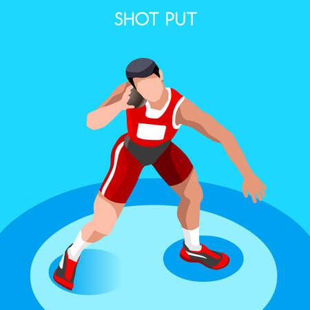 shot: Athletics Shot Put 2016 Summer Games Icon Set.3D Isometric Athlete.Sporting Championship International Competition.Sport Infographic Shot Put Athletics Vector Illustration